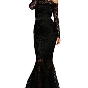 Lalagen Women's Floral Lace Long Sleeve Off Shoulder Wedding Mermaid Dress Black M