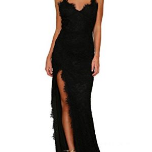 Lalagen Women's Floral Lace Split Long Formal Wedding Dress Evening Gown Black XL