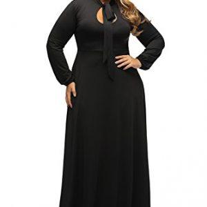 Lalagen Women's Vintage Long Sleeve Plus Size Evening Party Maxi Dress Gown Black XXXL