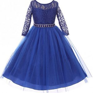 Little Girls Dress Lace Top Rhinestones Tulle Holiday Christmas Party Flower Girl Dress Royal Size 4 (M37BK2)
