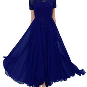 LMBRIDAL Women's Chiffon Tea Length Mother of the Bride Dress with Sleeves Royal Blue 18W