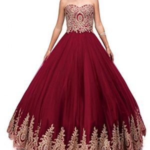 LMBRIDAL Women's Lace Appliqued Sweetheart Quinceanera Dress Ball Gowns Burgundy B 18W