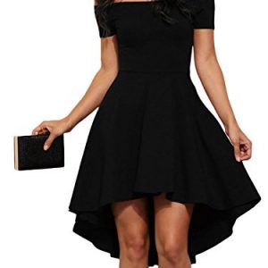 LOSRLY Womens Off The Shoulder Skater High Low Homecoming Party Cocktail Dress Little Black S 4 6