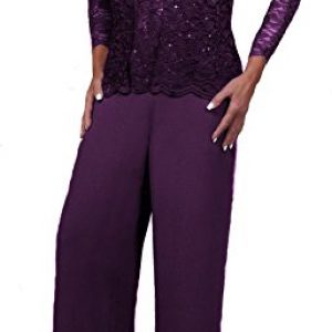 Love My Seamless Elegant Mother Of The Bride Formal 3 Piece Pant Suit Lightly Beaded Lace (Large, Plum)