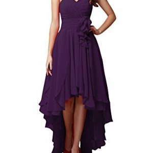 LOVEBEAUTY Women's Chiffon Sweetheart Hi-Lo Bridesmaid Dresses Evening Party Prom Gown Purple US 12