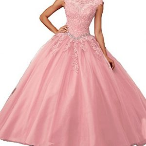 Meilishuo Women's Cap Sleeve Applique Organza Ball Gowns Quinceanera Dresses