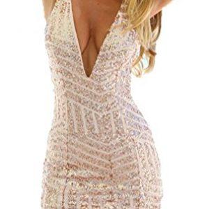 Memorose Womens Sexy V Neck Sleeveless Sequin Bodycon Halter Mini Clubwear Dress Gold S