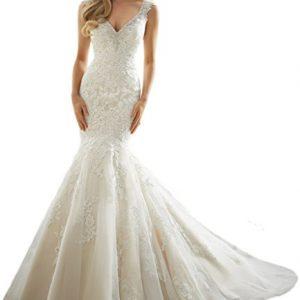 MILANO BRIDE Luxury Wedding Dress Mermaid V-neck Backless Applique Beading-8-Light Ivory