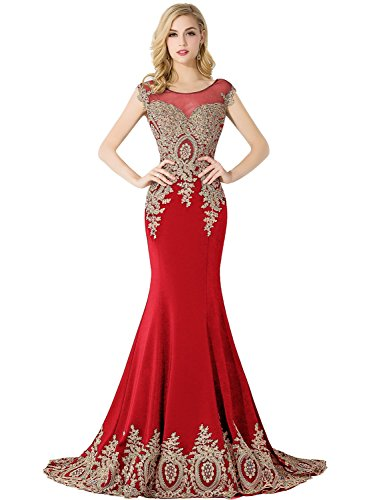 MisShow Women's Crystal Long Formal Mermaid Evening Prom Dresses,Red,Size 16
