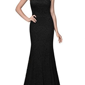 Miusol Women's 1920'S Retro Floral Lace Sleeveless Halter Bridesmaid Long Dress (3X-Large, Black)