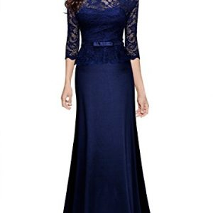 Miusol Women's Retro Floral Lace 2/3 Sleeve Slim Peplum Formal Long Dress, Size Small, Navy Blue