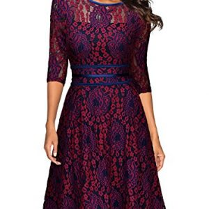 Miusol Womens Vintage Floral Lace 2/3 Sleeve Cocktail Evening Party Dress, Dark Red and Purple, Medium