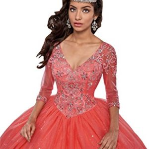 Mollybridal V neck Prom Quinceanera Dress With Long Sleeve Crystals Ball Gown Red 2