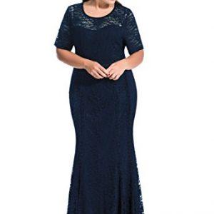 myfeel Women Plus Size Lace Ruched Empire Waist Sweetheart Mermaid Fishtail Cocktail Evening Dress (4X, Dark Blue)