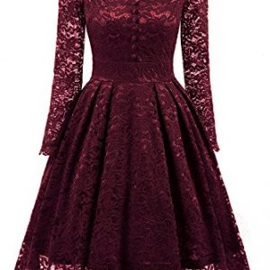 NALATI Women's Vintage Long Sleeve V Neck Floral Print Lace Cocktail Party Dress (XL, Wine Red)
