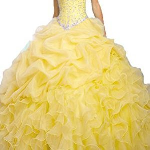 OnlyBridal Women's Beaded Organza Ball Gown Sweet 16 Dresses Quinceanera Dresses