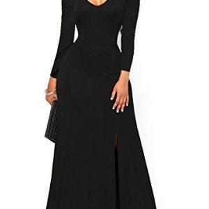 ONLYSHE Women's Cold Shoulder Long Maxi Casual Dresses Zipper Bodycon Split Dress Black Medium