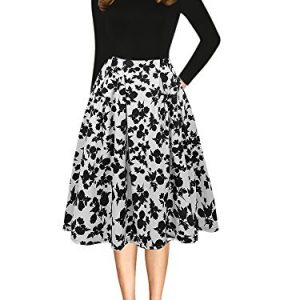 oxiuly Women's Vintage Long Sleeve Casual Patchwork Pockets Party Swing Dress OX165 (M, Black White Long)