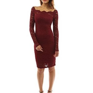 PattyBoutik Women's Off Shoulder Twin Set Floral Lace Dress (Burgundy M) (Product) Red