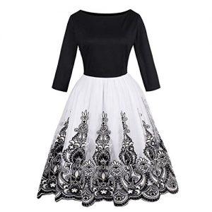 PennyStoneone Women Vintage Autumn Dress Floral Print Mesh Party Dresses O Neck Elegant Female Vintage Dress New Arrival Dresses New Black S