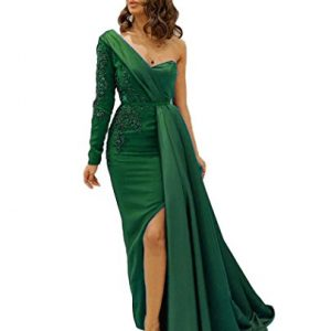 QiJunGe Popular Prom Evening Dress High Slit Appliques Beaded Prom Party Gowns Green US 10