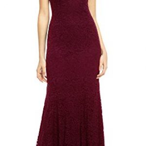 REPHYLLIS Women's Retro Floral Lace Vintage Wedding Maxi Bridesmaid Long Dress(M,DarkRed)