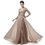 Robe de Soiree 2018 New Arrival Fashion Sexy v Neck Long Sleeve Formal Prom Dresses Vestido de Festa Abendkleider Custom Made Evening Dresses MNQ170406-Khaki-US14