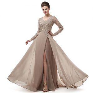 Robe de Soiree 2018 New Arrival Fashion Sexy v Neck Long Sleeve Formal Prom Dresses Vestido de Festa Abendkleider Custom Made Evening Dresses MNQ170406-Khaki-US14