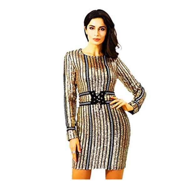 ROM818 Gold Sequin Cocktail Dress With Belt and Tie - New Arrival ...