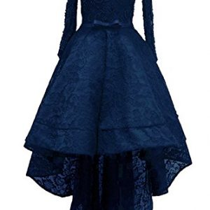 Rongstore Women's High Low Lace Prom Party Dresses with Long Sleeve Navy Blue US6
