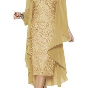Ruiyuhong Mother of the Bride Dress with Jacket Formal Gowns US16 Gold