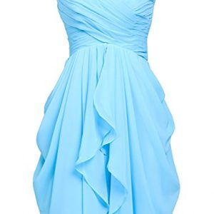 Sarahbridal Women's Chiffon Prom Dreeses 2017 Short Bridesmaid Party Gowns Sky Blue US6
