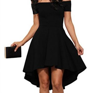 Sidefeel Women Off Shoulder Sleeve High Low Skater Dress XX-Large Black