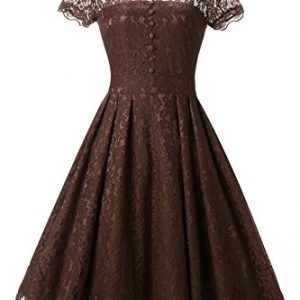 Star Finch Retro Floral Lace Prom Dresses Short Homecoming Dresses Cap Sleeves Vintage Cocktail Bridesmaid Dresses, Coffee XL