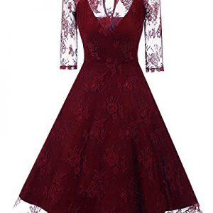 Tempt me Sexy Vintage Floral Lace 3/4 Sleeve Cocktail A-Line Formal Dress For Women Red XX-Large