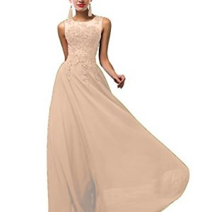 ThaliaDress Thalia Women Long Sheer Neck Evening Bridesmaid Dresses Prom Gowns T004LF Champagne US17W