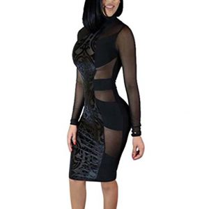 Tuesdays2 Women's Sexy Mesh See Through Bodycon Clubwear Dress (M, Black)