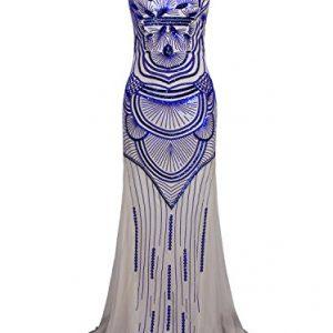 Vijiv Women Sparkly Formal Evening Prom Ball Gown Sequin Glitter Mermaid Long Dress Beige Blue Medium