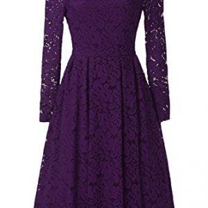 Viwenni Women's Vintage Floral Lace Cocktail Summer Swing Dress XL Purple