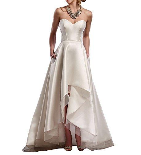 Weddder High Low Wedding Dress For Bride 2018 Strapless