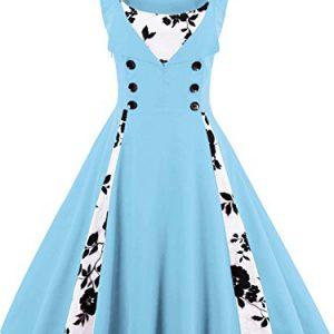 Women Vintage 1950s Cocktail Dress Retro Audrey Hepburn Gown,Blue,S