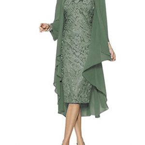 Women's Elegant Knee Length Formal Party Dresses Lace Mother of Bride Dresses with Jacket Pastel Green US12