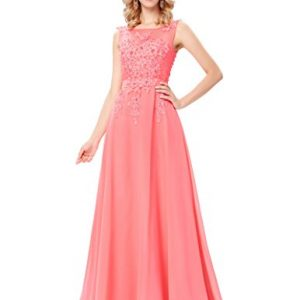 Women's Long Evening Gowns Prom Gowns Coral Pink Size 6