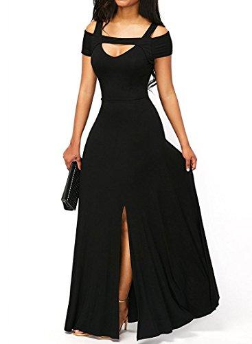 Women S Sexy V Neck Cold Shoulder Short Sleeve Maxi Dress