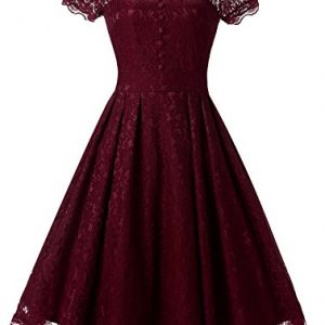 Womens Vintage Bridesmaid Formal Dresses for Women Wedding Party Cocktail Swing Dress DS010 Wine red X-Large