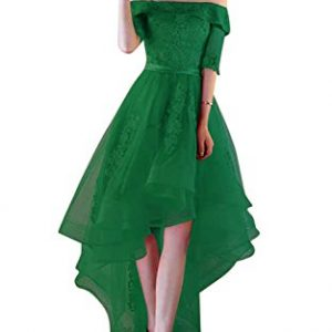 Xoemir 2017 New Arrival High Low Special Occasion Dresses Short Sleeve Green, 8