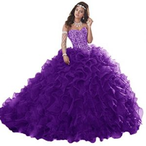 XSWPL Gorgeous Heavy Beaded Organza Quinceanera Dresses for Sweet 16 Ball Gowns Purple US16