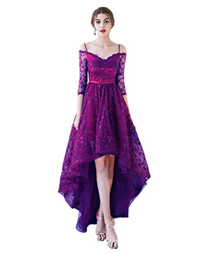XSWPL Womens New Arrival Spaghetti Straps Hi_Lo Prom Dress Evening Party Gowns Purple US2