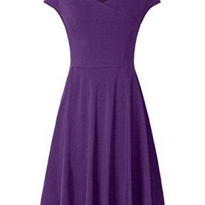 Vintages Dresses,Bebonnie Womens Summer Elegant Ruched Swing A Line DressesViolet Large