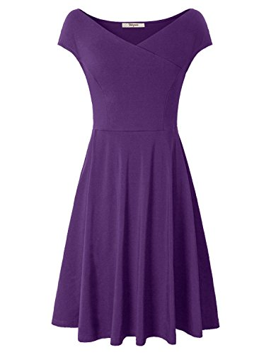 Vintages Dresses,Bebonnie Womens Summer Elegant Ruched Swing A Line DressesViolet Large